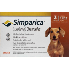 Симпарика 20 мг 3 шт, жевательные таблетки для собак 5-10 кг (Zoetis) в Таблетки от блох и клещей.