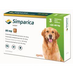 Симпарика 80 мг 3 шт, жевательные таблетки для собак 20-40 кг (Zoetis) в Таблетки от блох и клещей.